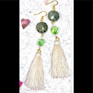 Gray Green Crystal Disk and White Tassel Earrings